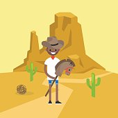 Wild west conceptual illustration. Young black man wearing a cowboy hat and riding a hobbyhorse / flat editable vector illustration, clip art