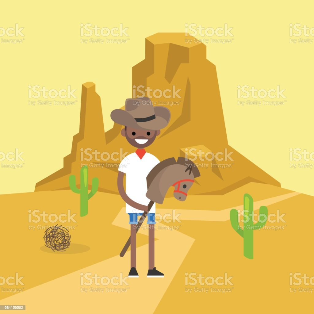 Wild west conceptual illustration. Young black man wearing a cowboy hat and riding a hobbyhorse / flat editable vector illustration, clip art vector art illustration