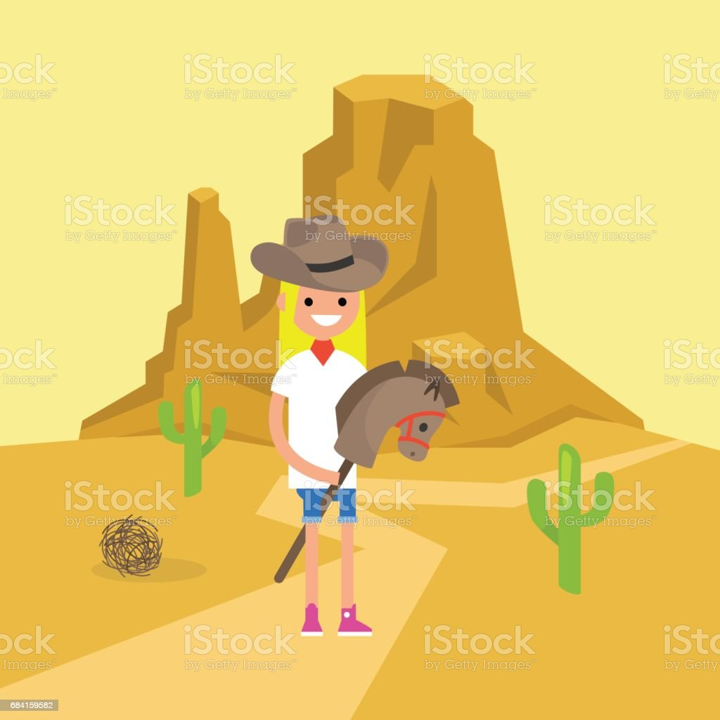 Wild west conceptual illustration. Young blond girl wearing a cowboy hat and riding a hobbyhorse / flat editable vector illustration, clip art vector art illustration