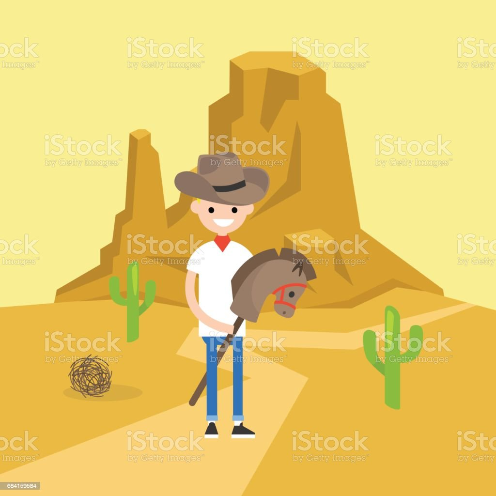 Wild west conceptual illustration. Young boy wearing a cowboy hat and riding a hobbyhorse / flat editable vector illustration, clip art vector art illustration