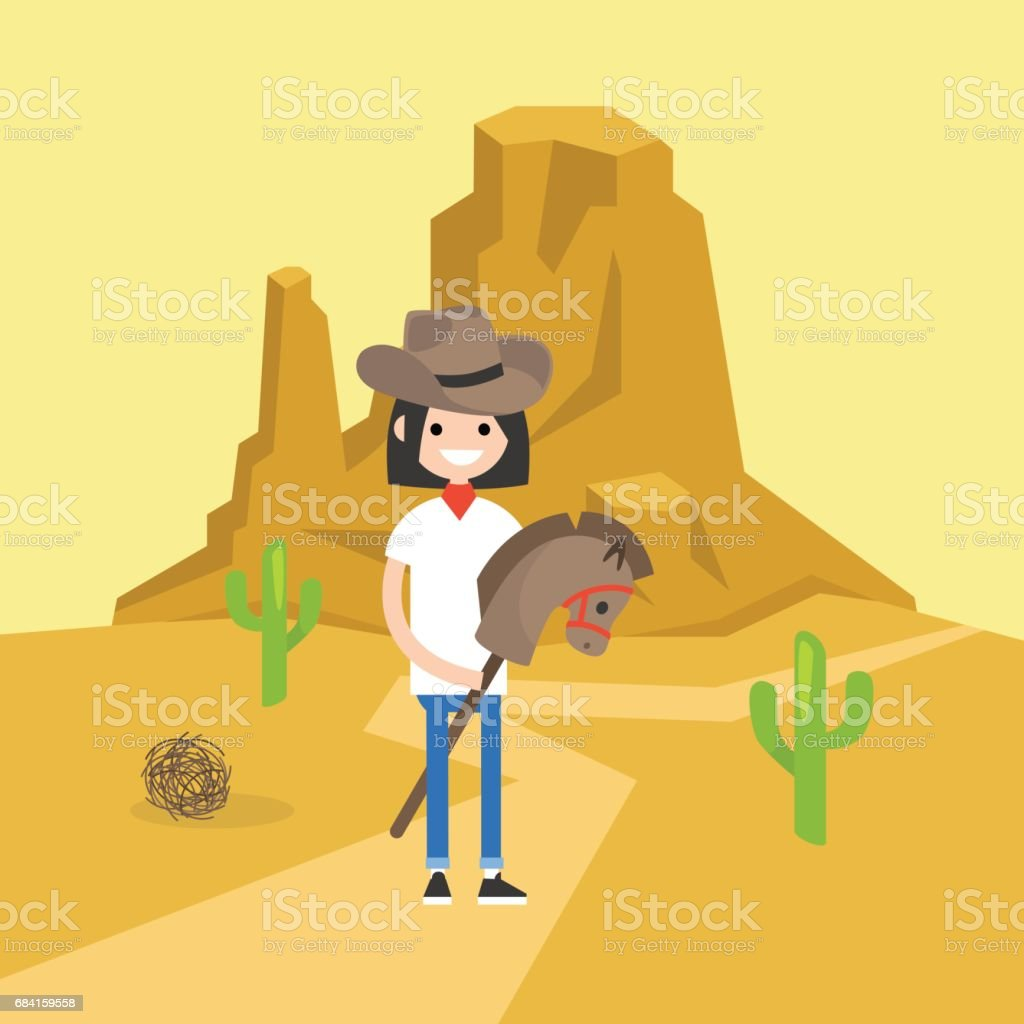 Wild west conceptual illustration. Young brunette girl wearing a cowboy hat and riding a hobbyhorse / flat editable vector illustration, clip art vector art illustration