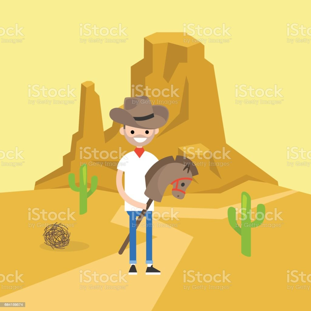 Wild west conceptual illustration. Young brunette man wearing a cowboy hat and riding a hobbyhorse / flat editable vector illustration, clip art vector art illustration