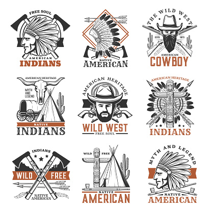 Wild west cowboy, american indians vector icons