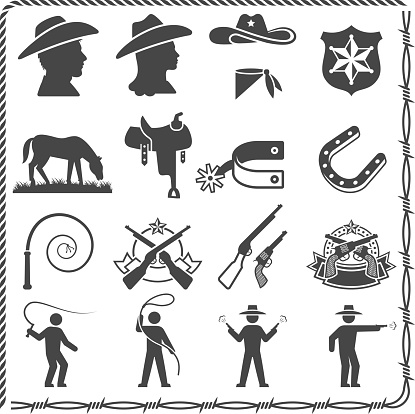 Wild west Cowboy and Sheriff black & white icon set