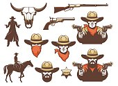 Wild west cowboy and weapons and design elements. Western retro set. Vector illustration.