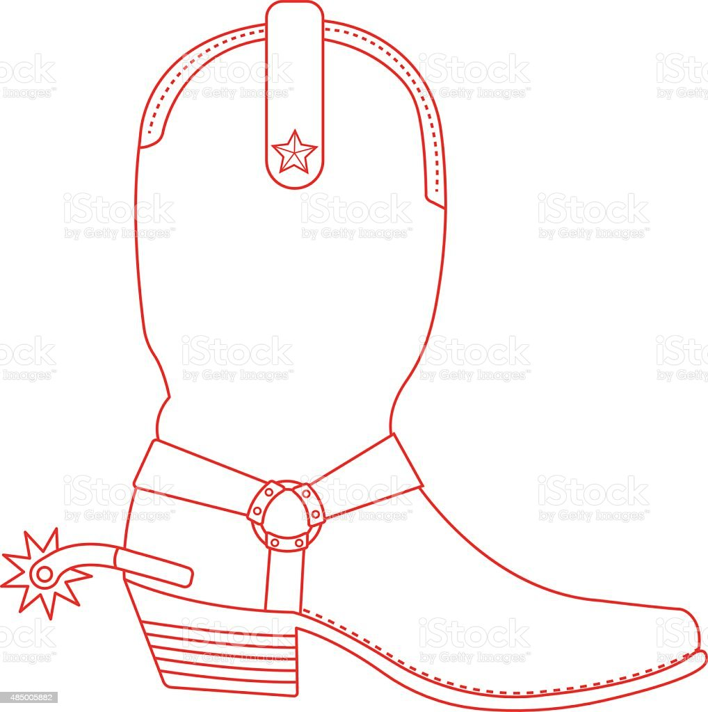 Wild west cowboy boot with spur. Contour vector art illustration