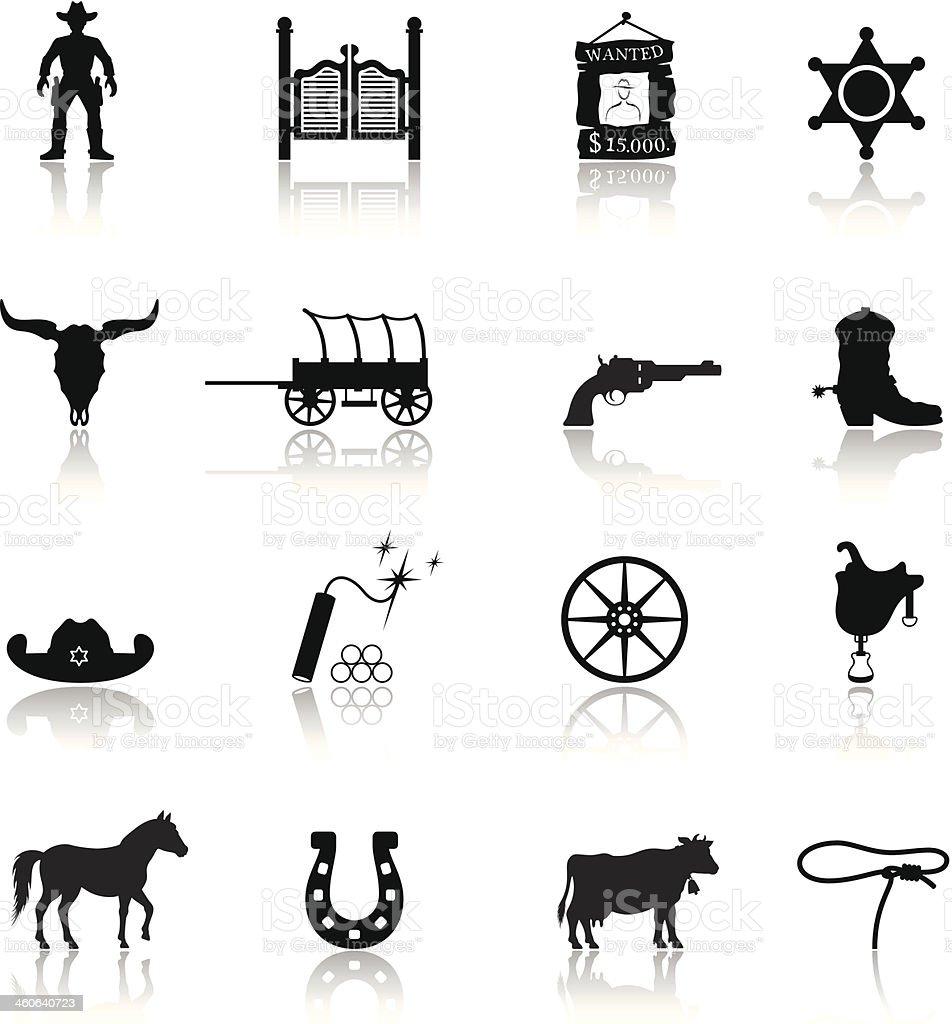 Wild West Cowboy Icon Set vector art illustration