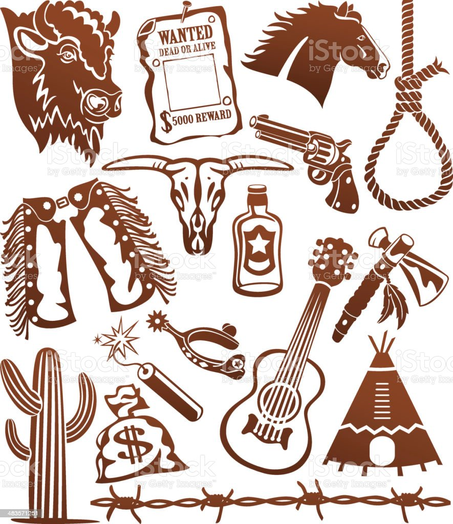 Wild West Cowboy Icons royalty-free stock vector art
