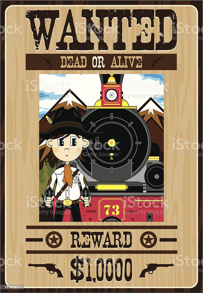 Wild West Cowboy Outlaw Poster royalty-free stock vector art