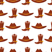 Wild west cowboy vector cloth rodeo equipment accessories seamless pattern background illustration