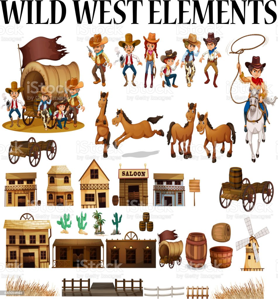 Wild west cowboys and buildings vector art illustration