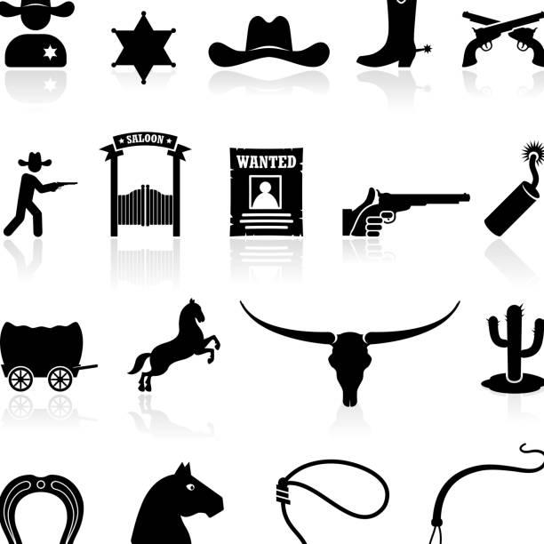wild west cowboys black & weiße symbole lizenzfreie vektorgrafiken - cowboystiefel stock-grafiken, -clipart, -cartoons und -symbole