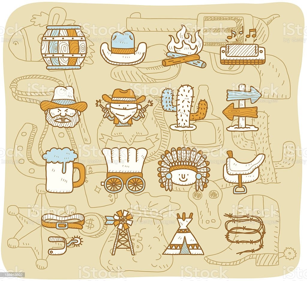 wild west cowboys icon set | Mocha Series royalty-free stock vector art