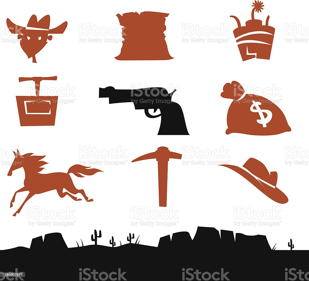 Wild West Cowboys Icons royalty-free wild west cowboys icons stock vector art & more images of animal