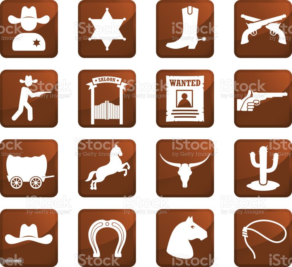 wild west cowboys sixteen royalty free icons royalty-free stock vector art