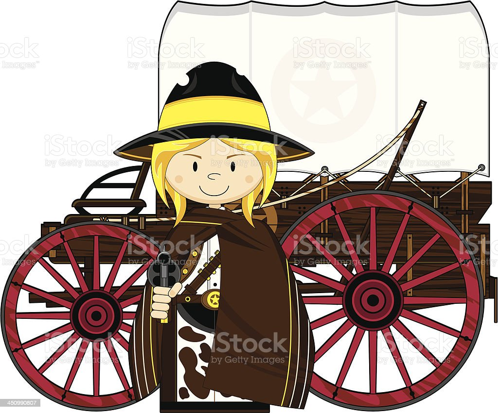 Wild West Cowgirl & Chuck Wagon royalty-free stock vector art