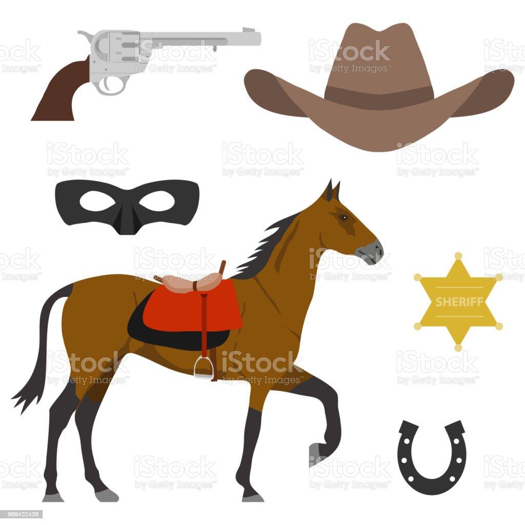 2020b2ba391 Wild West Elements Of The Wild West A Horse A Cowboys Cap A Sheriffs ...