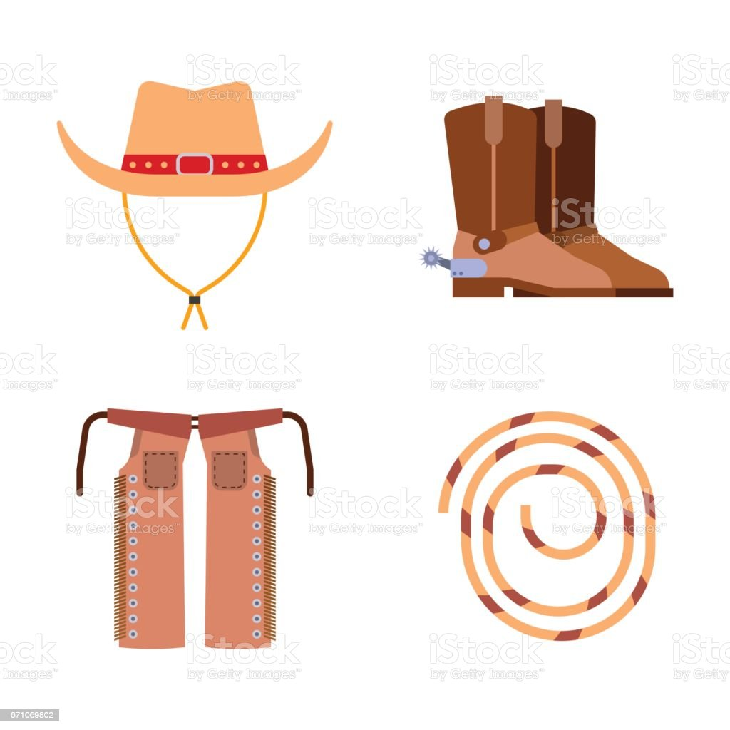 Wild west elements set icons cowboy rodeo equipment and different accessories vector illustration vector art illustration