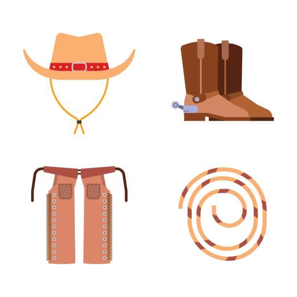 wilden westen elemente stellen icons cowboy rodeo anlagen und verschiedenes zubehör vektor-illustration - cowboystiefel stock-grafiken, -clipart, -cartoons und -symbole