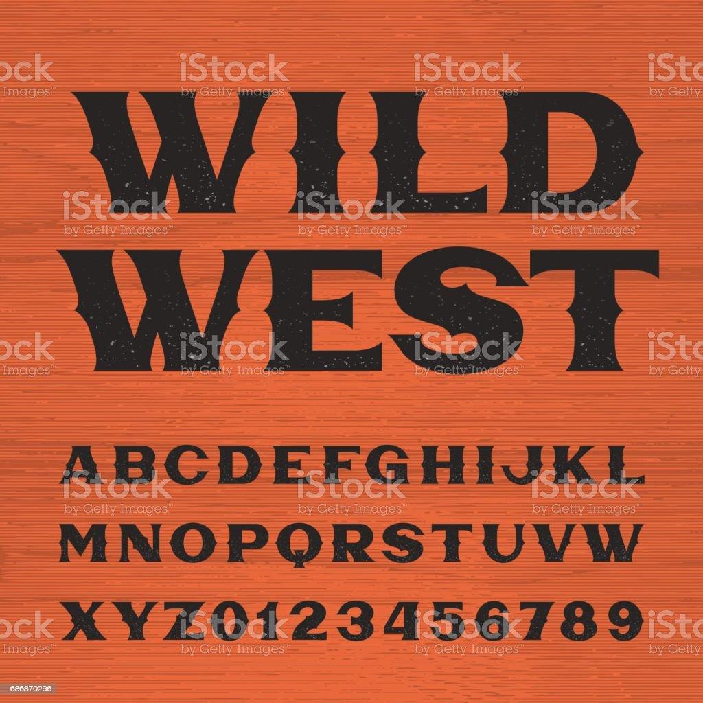 Letra de Wild west. Alfabeto de estilo vintage. ilustración de letra de wild west alfabeto de estilo vintage y más vectores libres de derechos de arte cultura y espectáculos libre de derechos