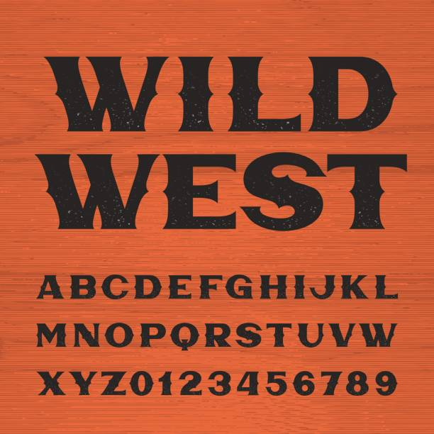 Wild west font. Vintage style alphabet. vector art illustration