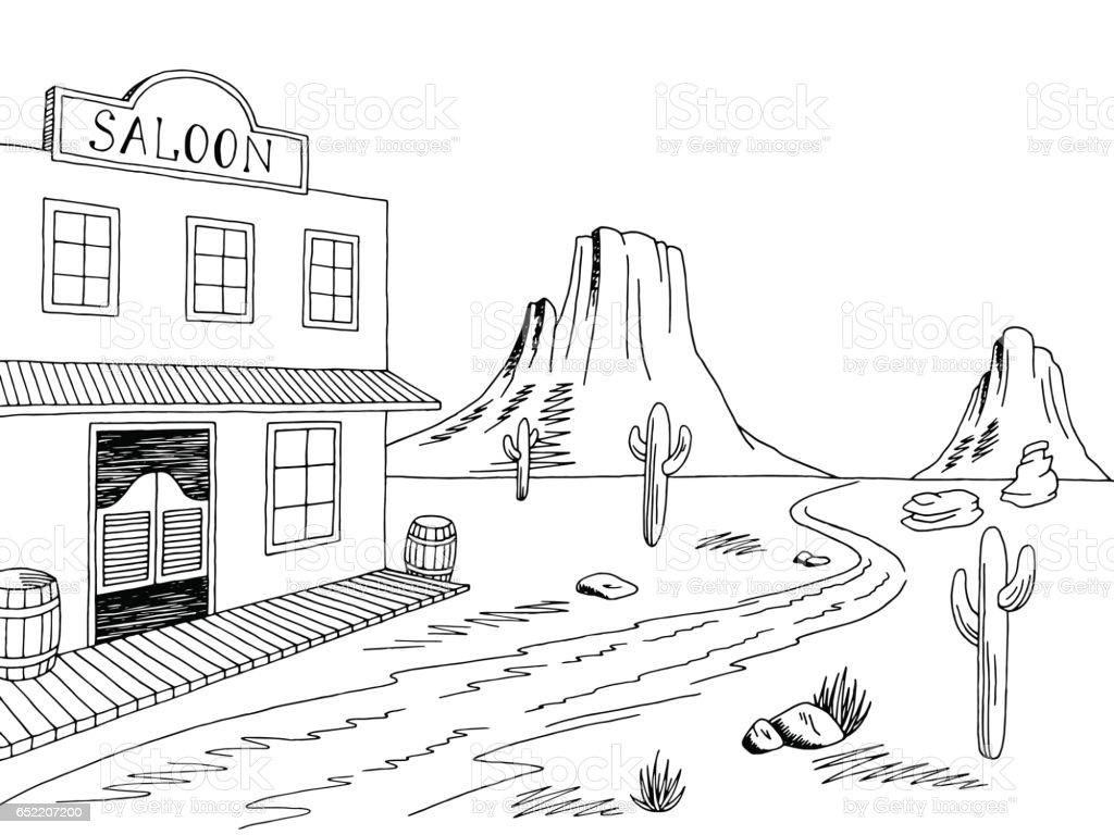 Town Landscape Vector Illustration: Wild West Graphic Black White Prairie Landscape Sketch