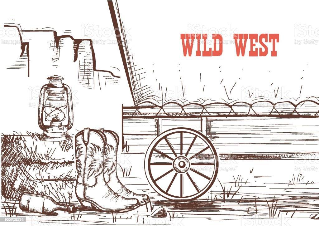 Far West Part Dessiner Fond Avec Des Bottes De Cowboy Et Chariot Western Vecteurs libres de droits et plus d'images vectorielles de Affiche