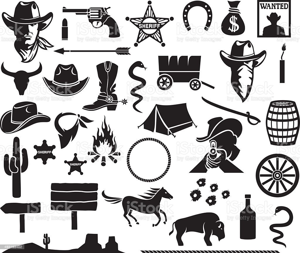 wild west icons set vector art illustration