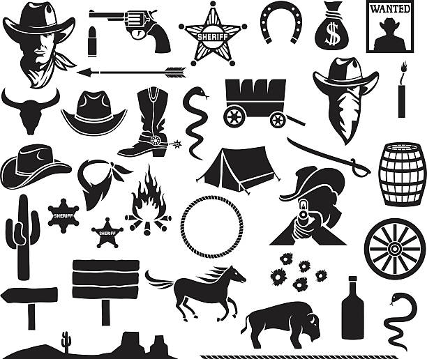 wild west icons set wild west icons set  rancher illustrations stock illustrations