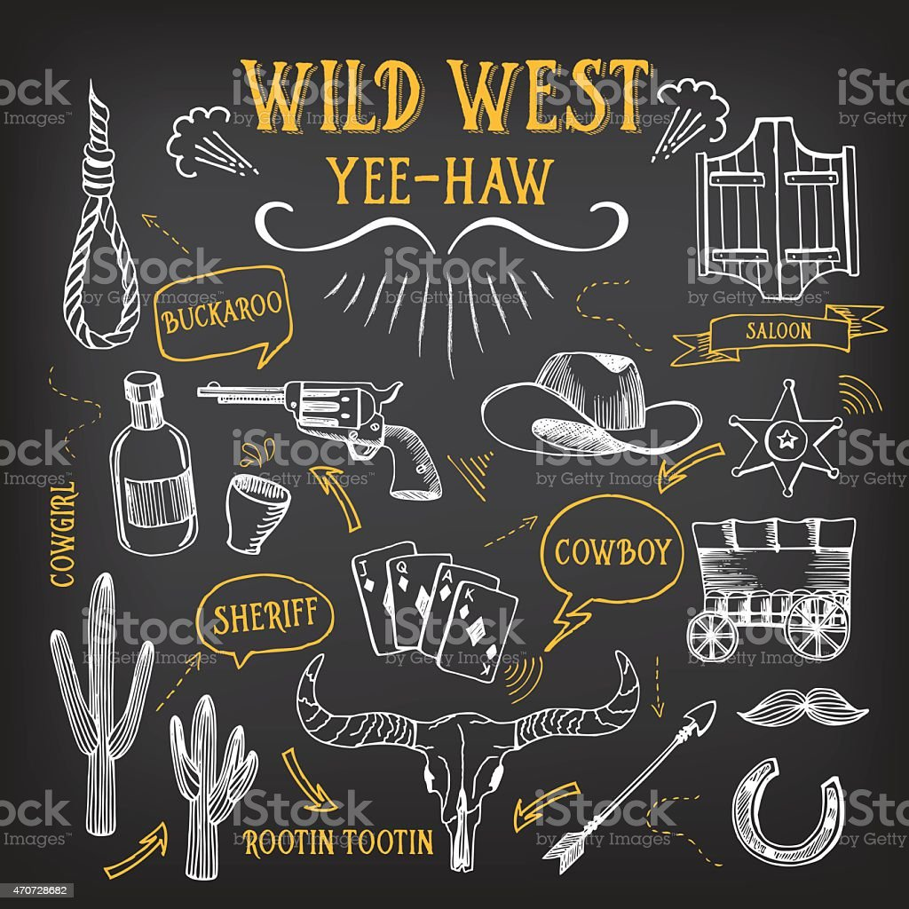 Wild west icons. vector art illustration