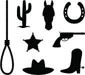 Wild west items: cactus, horse, horse shoe, gun,hat and cowboy boots.