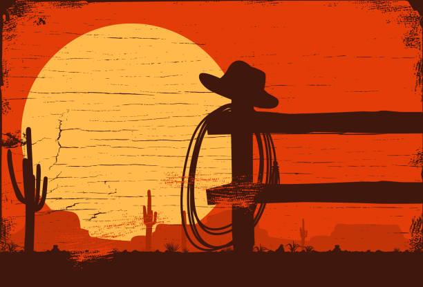 ilustraciones, imágenes clip art, dibujos animados e iconos de stock de oeste salvaje fondo de paisaje, ilustración vectorial - rodeo