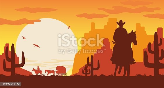 Wild west landscape silhouette. Silhouette cowboy on horse van with rider vector background of setting greater sun flying vultures in Mojave desert cacti mountains.