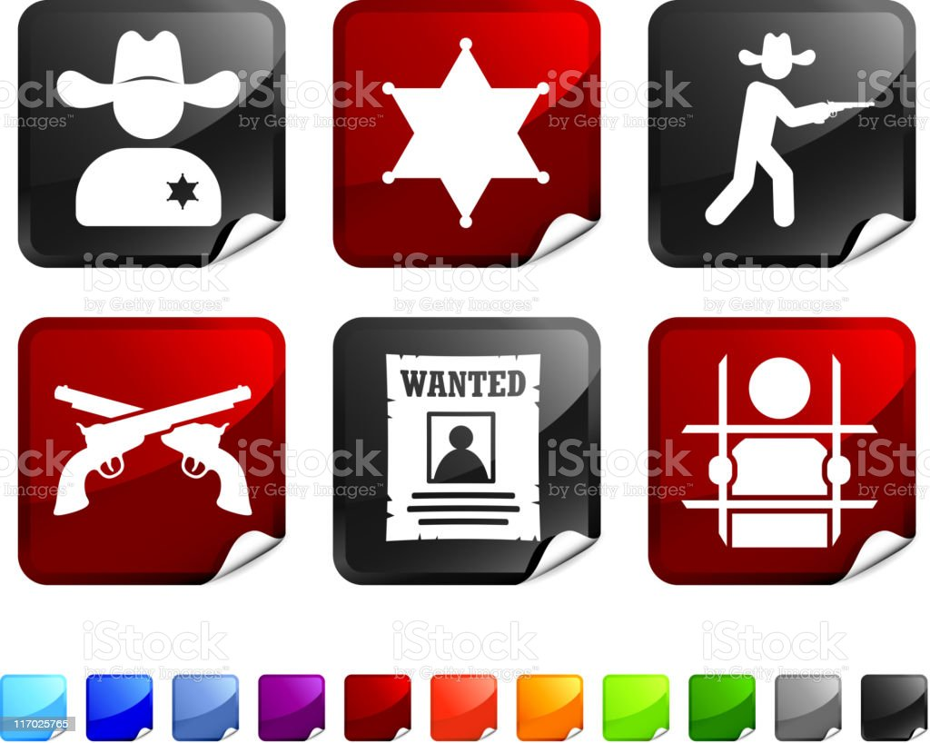 Wild West law and crime royalty free vector icon set royalty-free wild west law and crime royalty free vector icon set stock vector art & more images of bent