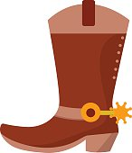 Wild west leather cowboy boot with spurs and stars. Vector