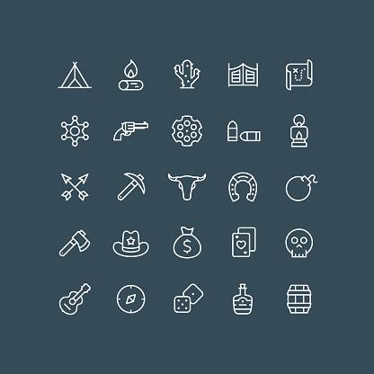 Wild West Line Icons Editable Stroke