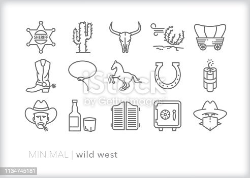 Set of 15 gray wild west line icons of American west cowboys, sheriff, robber, cactus, lasso, horse, saloon, tumbleweeds and wagons
