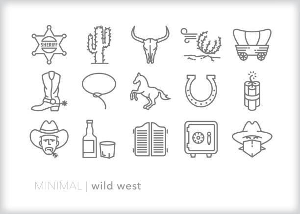 wilde westlinie ikonen der amerikanischen westgrenze, wenn kuhbögen und sheriffs raubtiere und salons jagten, wo reichlich - cowboystiefel stock-grafiken, -clipart, -cartoons und -symbole