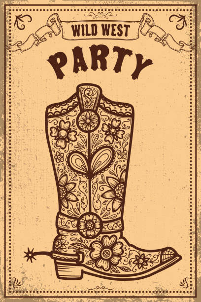 Wild west party. Poster template with cowboy boot on grunge background. Vector illustration Wild west party. Poster template with cowboy boot on grunge background. Vector illustration southern usa illustrations stock illustrations