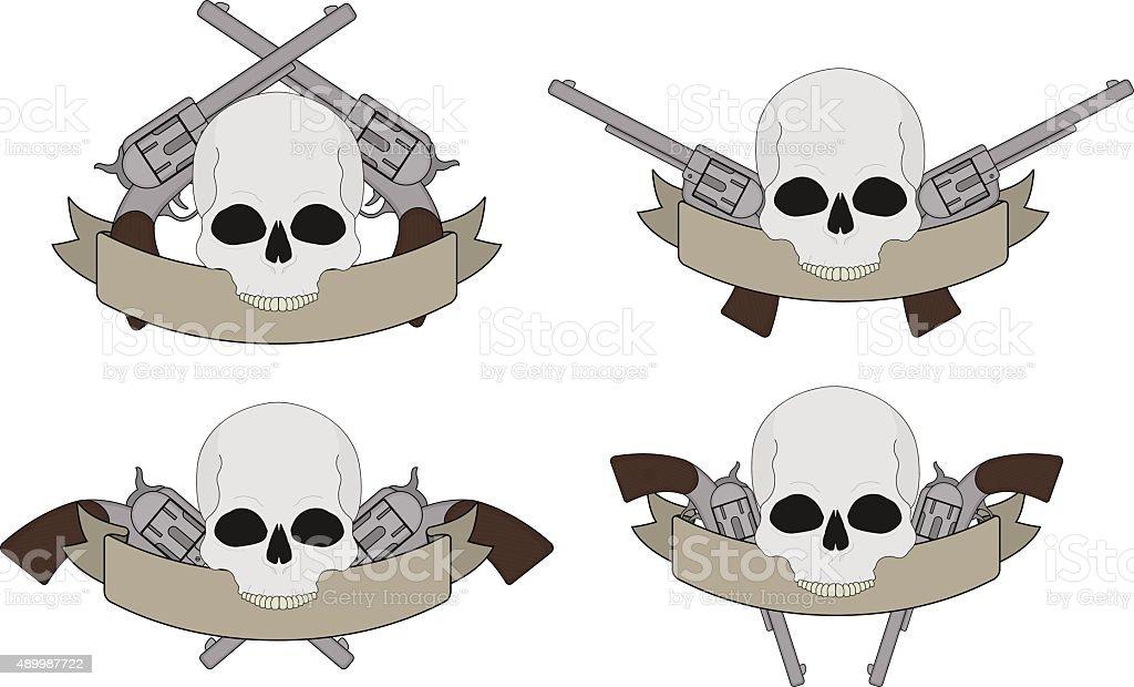 Wild west pistols and skull banners vector art illustration