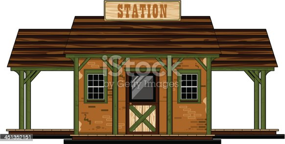 Vector Illustration of a Wild West Style Railway Station.