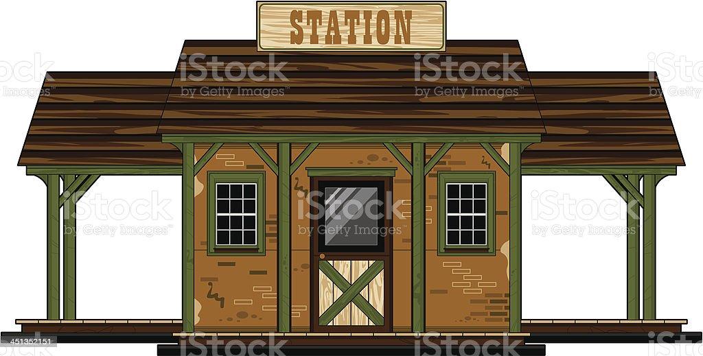 Wild West Railway Station vector art illustration
