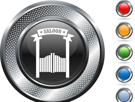 wild west saloon royalty free vector art on metallic button