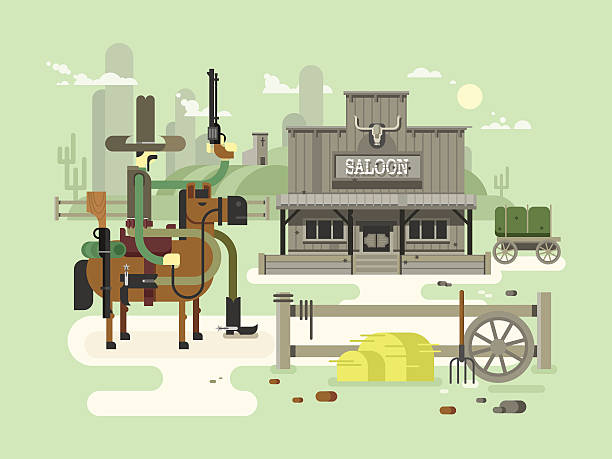 Wild west saloon vector art illustration