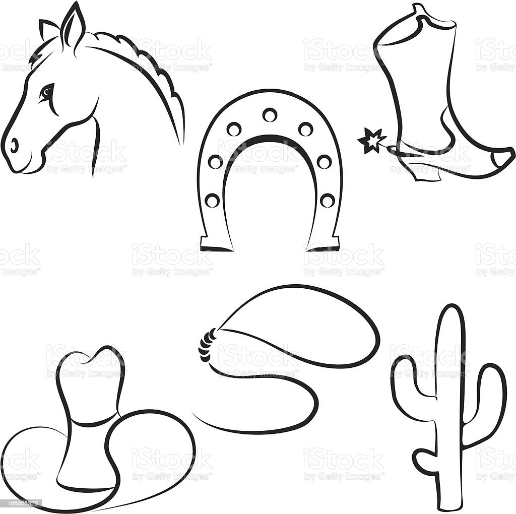 Wild west set royalty-free stock vector art