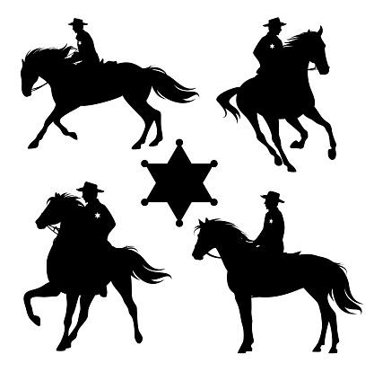 wild west sheriff cowboy riding horse black vector silhouette set