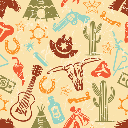 Wild West Silhouette Icons Seamless Background