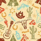 Seamless vector pattern tile background with Wild West silhouettes/icons and grunge texture.