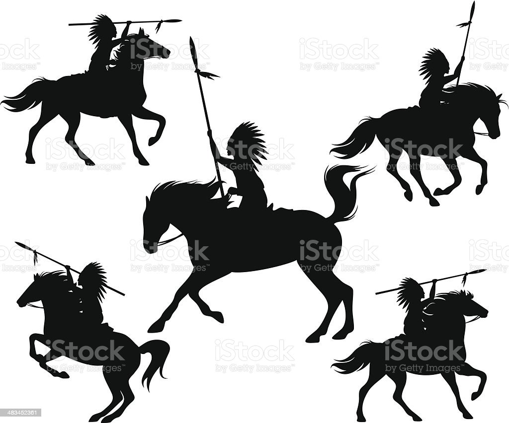 wild west silhouettes vector art illustration