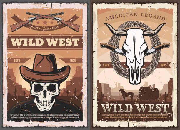 bildbanksillustrationer, clip art samt tecknat material och ikoner med wild west skull i cowboyhatt, american western - celebrities of age